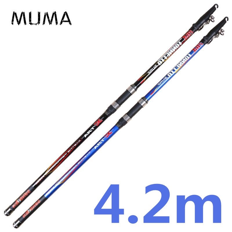 US $40 74 50% OFF|MUMA 4 2m distance throwing fishing rod strong surf  casting trolling fishing pole carbon fiber spinning rod lure weight 100  300g-in