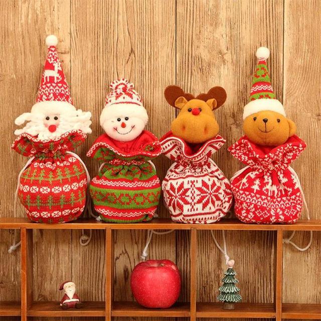 Big New Year Christmas Gift Bags Creative 3D Knitting Apple Bag Christmas Sack Candy Storage Bags Drawstring Design 4 Style