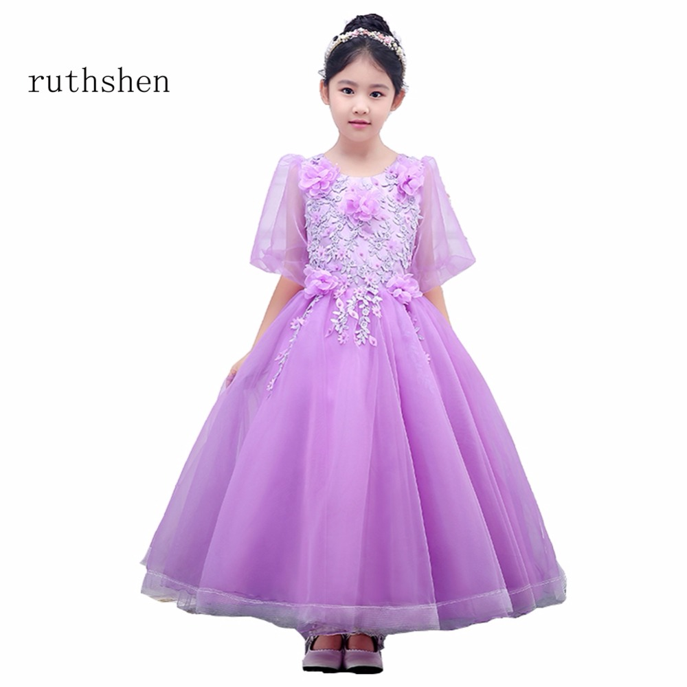 ruthshen Princess In Stock Baby   Flower     Girls     Dresses   For Weddings With Appliques   Flowers   Kids Ankle Length A Line Gowns