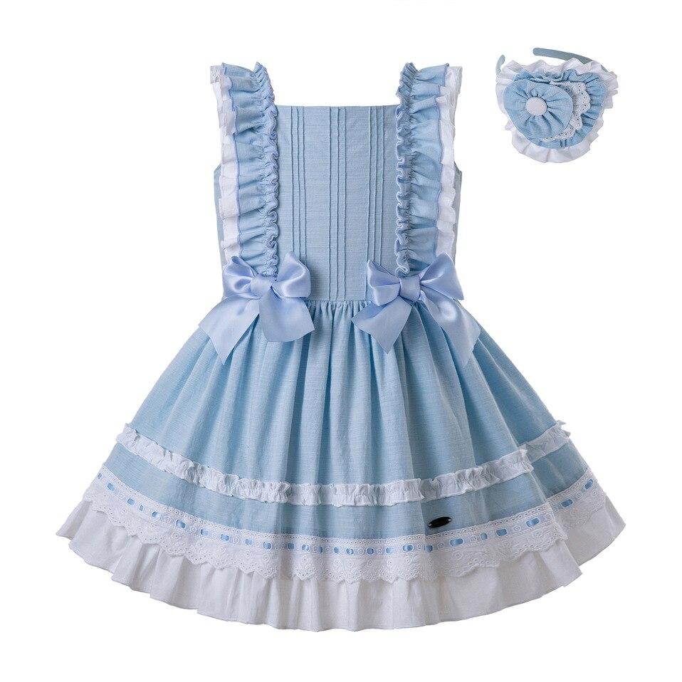 Pettigirl Wholesale Summer Sleeveless Girls Dress Sky Blue Princess Dresses For Girls With Bow Kids Clothing