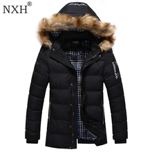 NXH 2017 New Arrival Mens Winter Thick Casual coat Zipper Solid Fashion Style Men Parka High
