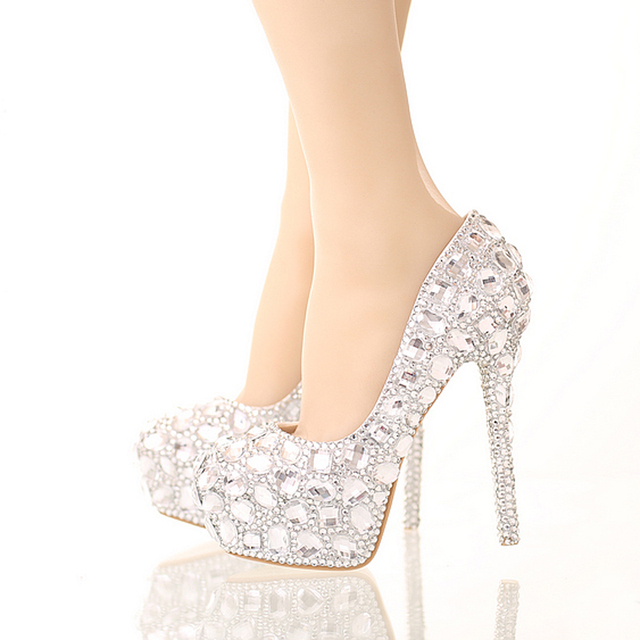16ab0a350bcc Handmade Sparkling Formal Shoes Rhinestone Wedding Shoes Silver High Heel  Platform Bride Crystal Shoes Women Party Dress Shoes