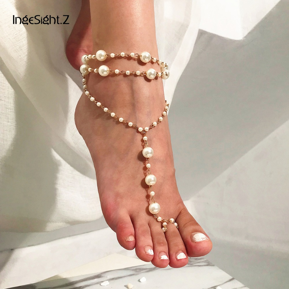 IngeSight.Z Bohemian Multi Layered Simulated Pearl Anklet Bracelet Summer Charm Beach Barefoot Sandals Anklets for Women Jewelry