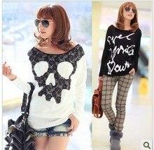 new fashion spring autumn cotton lace skull print long sleeve  casual blusas femininas 2015 t shirt  women t-shirt tops