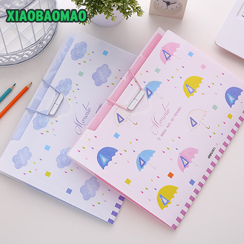 цена на Cute cartoon officeery bill bag portable document bag 8 layer folder A4 multilayer paper bags organ package inserts