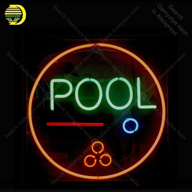 Pool Game room NEON SIGN REAL GLASS Custom BEER BAR PUB LIGHT SIGN Wall STORE DISPLAY ADVERTISING LIGHTS Art Decor lamp