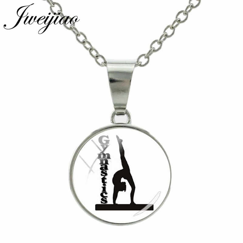 JWEIJIAO Metal Snap Button Pendant Necklace Glass Gems Gymnastic Figure Silhouette Necklaces For Sport Club Jewelry Gift GY192