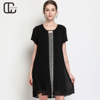 Women's Black Chiffon Chain Stitch Pleated Dresses Plus Size Evening Party Elegant Short Sleeve 2018 Summer Fashion Clothes 5XL