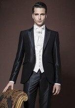 New Design One Button Black Groom Tuxedos Groomsmen Men's Wedding Prom Suits Bridegroom (Jacket+Pants+Vest+Tie) K:878
