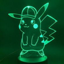 Game Pokemon Go Pikachu with Cap Figure 3d Led Night Light Lamp 7 Colors Changing Touch Sensor Usb or Battery Nightlight Lamp 3d цена