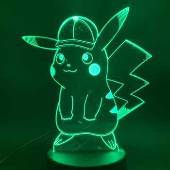 Game Pokemon Go Pikachu with Cap Figure 3d Led Night Light Lamp 7 Colors Changing Touch Sensor Usb or Battery Nightlight Lamp 3d цена 2017