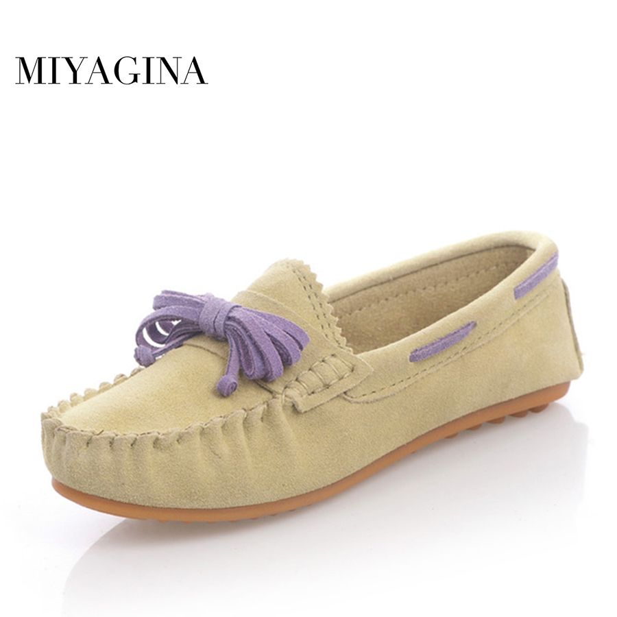 MIYAGINA Hot Sale Genuine Leather women Flats Spring Autumn candy color Casual Shoes high quality Female Leather shoes free shipping candy color women garden shoes breathable women beach shoes hsa21