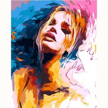 Frameless Modern Woman Painting Picture By Numbers DIY Abstract Oil Home Decor Canvas Wall Art 40x50cm