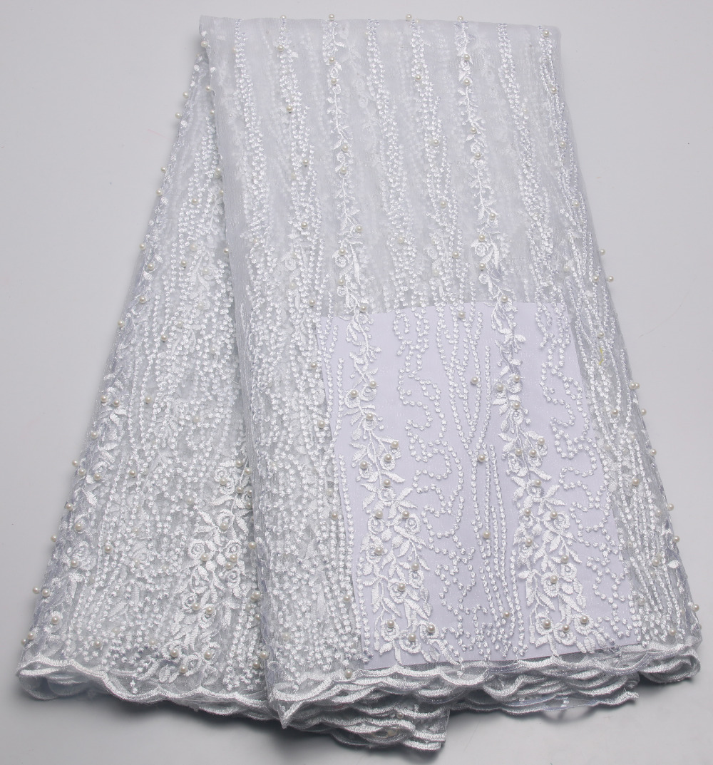 2016 embroidered african white lace fabric high quality for White lace fabric for wedding dresses