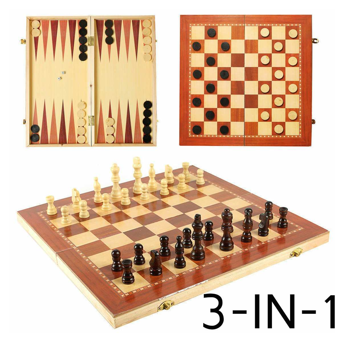 3 In 1 Wood Chess Board Tournament Travel Portable Chess Set International Chess Set Backgammon Draughts Playing Gift