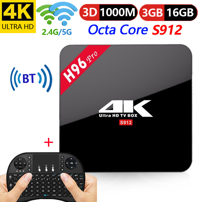 Boîtier TV Original H96 Pro inteligente 2 GB/3 GB/16 GB Amlogic S912 Octa Core android 7.1 TVBOX 2.4g/5.8 GHz WiFi BT4.1 4 K décodeur
