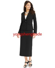 Custom Made Women Suit Single Button Notched Collar Jacket & Straight-Fit Skirt  Both Are Full Lined 746