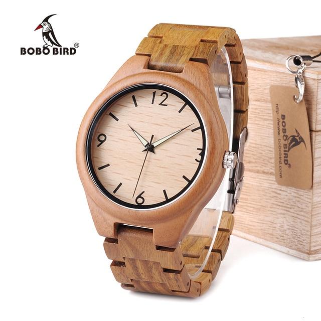 BOBO pájaro verde sándalo hombre reloj puntero luminoso madera relojes clásicos Verawood aceptar LOGO Envío Directo