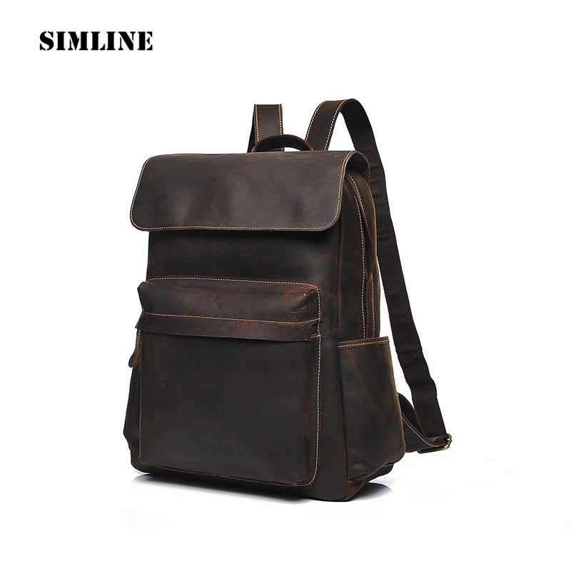 SIMLINE Vintage Casual Genuine Crazy Horse Leather Cowhide Men Mens Outdoor Travel Backpack Shoulder Bag Bags Backpacks For Man men s genuine leather double shoulder backpacks real cowhide leather backpack for men brand bags man multi fuctional bag