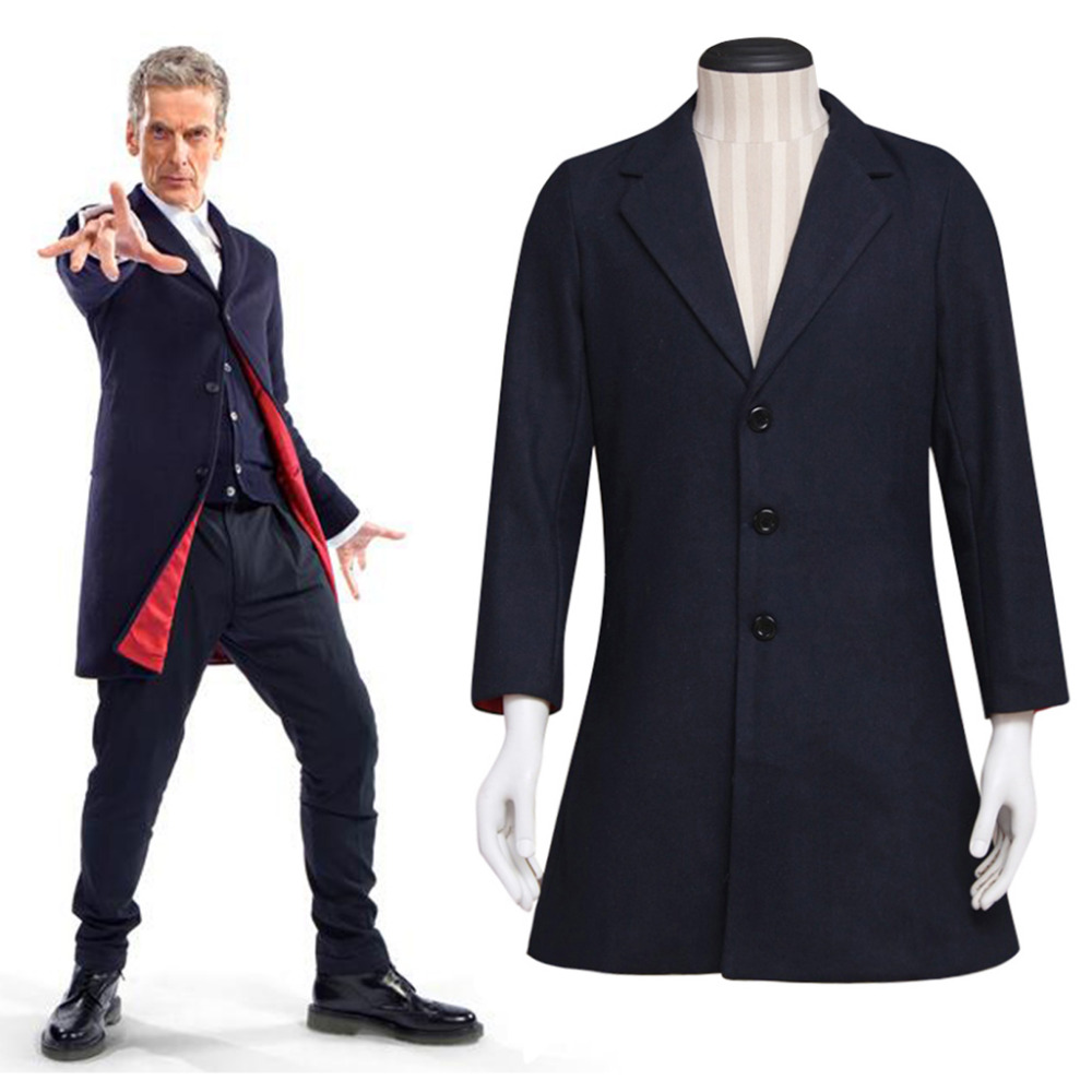 Doctor Who Coat Suit Who is Doctor Twelveth 12th Dr. Navy Blue Frock Coat Halloween Carnival Cosplay Costume