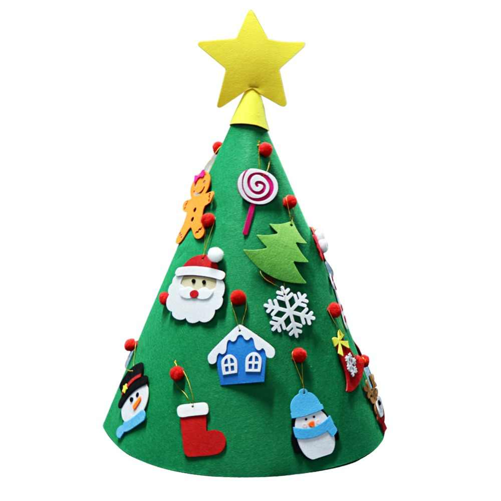 Ouwarm Kids DIY fieltro árbol de Navidad decoraciones Año Nuevo explosión caja de papel bolsa de regalo calcetines de Navidad suministros para fiesta en casa