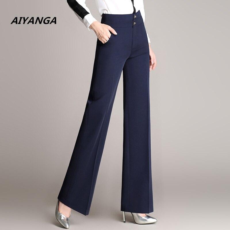 AIYANGA S-4XL quality women suit   wide     leg     pants   OL elegant office slim high waist ladies plus size solid trousers for woman