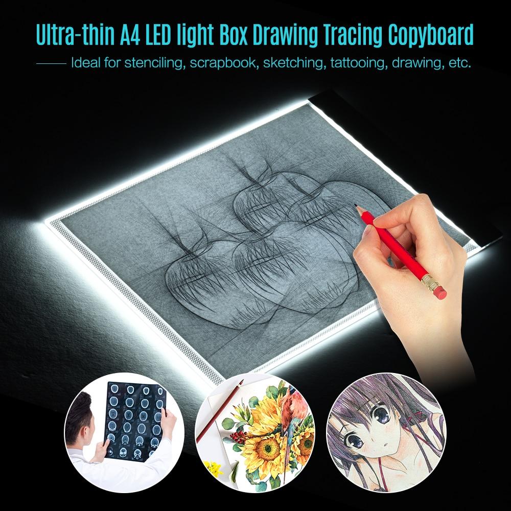 A4 Tamanho Ultra-fino LED Painel de Luz Pad Pintura Caixa De Rastreamento Copyboard para Rastreamento do Tatuagem Dos Desenhos Animados Desenho de Lápis X -raio de Visão