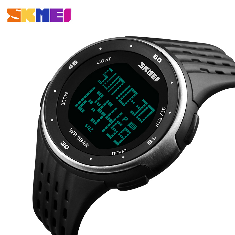 SKMEI Menn Sport Digitale Klokker Big Dial LED Display Armbåndsur Chronograph Calendar Backlight Alarm Relogio Masculino 1219