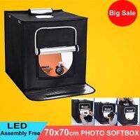 70x70 cm Taşınabilir LED Fotoğraf Stüdyosu Softbox çekim ışığı Çadırı Yumuşak Kutu + AC Adaptörü için Telefon Kamera DSLR takı Oyuncaklar Ateş
