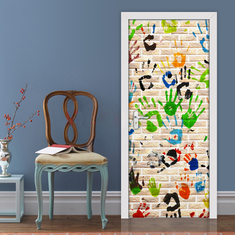 Graffiti Hand Printed 3D Creative DIY Self-adhesive Door Sticker Wallpaper For Kids Room Bedroom Door Decoration Stickers PVC