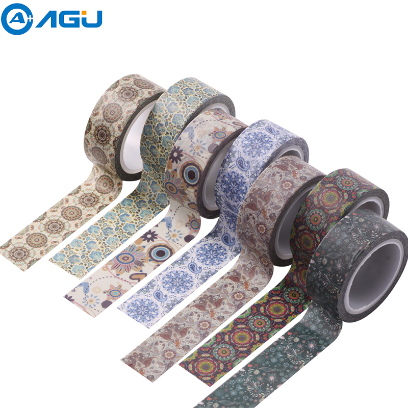 AAGU 1PC 15mm*5m New Design Colorful Floral Washi Tape Wide Flower Masking Tape DIY Fita Decorativa Sticky Paper Adhesive Tape Клейкая лента