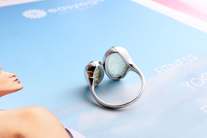 Image 5 - DORMITH  real 925 sterling silver gemstone ring natural amazonite labradorite stone rings for women jewelry rejustable size ring