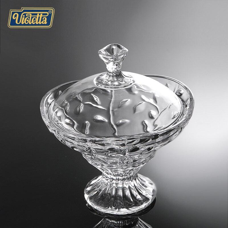 Plat de fruits créatif de mode européenne de compote de verre de cristal avec le réservoir de stockage de réservoir de pot de sucrerie de couverture