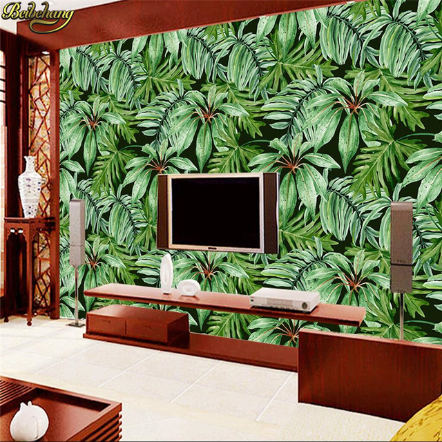 Beibehang custom wallpaper mural wall sticker tropical rainforest plant green banana leaf backdrop wall papel de