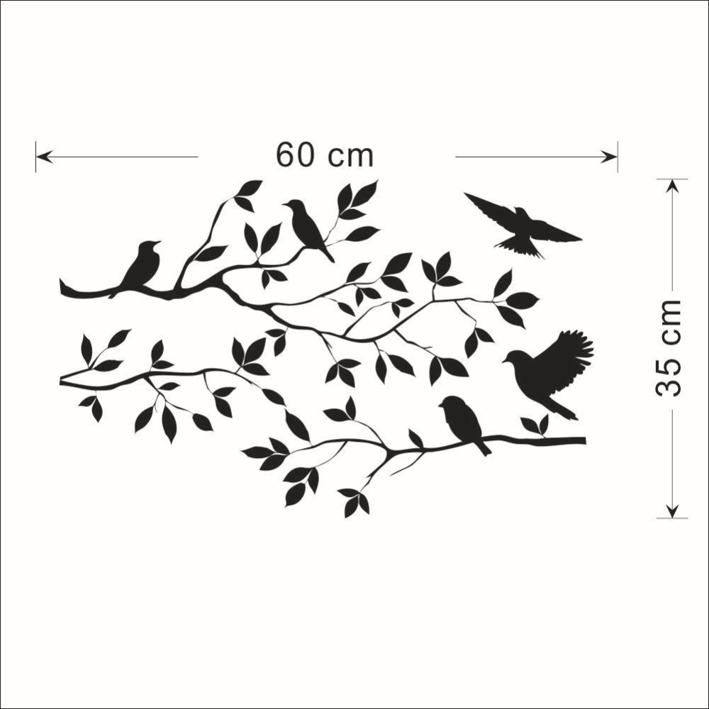 Flying Swallow Birds On Branches Creative Wall Decal Bedroom Kids