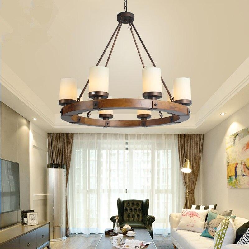 Retro Village Perdant Light American Wooden Round Iron Chandelier For Villa /Living Room /Library/Museum/Retro Cafe