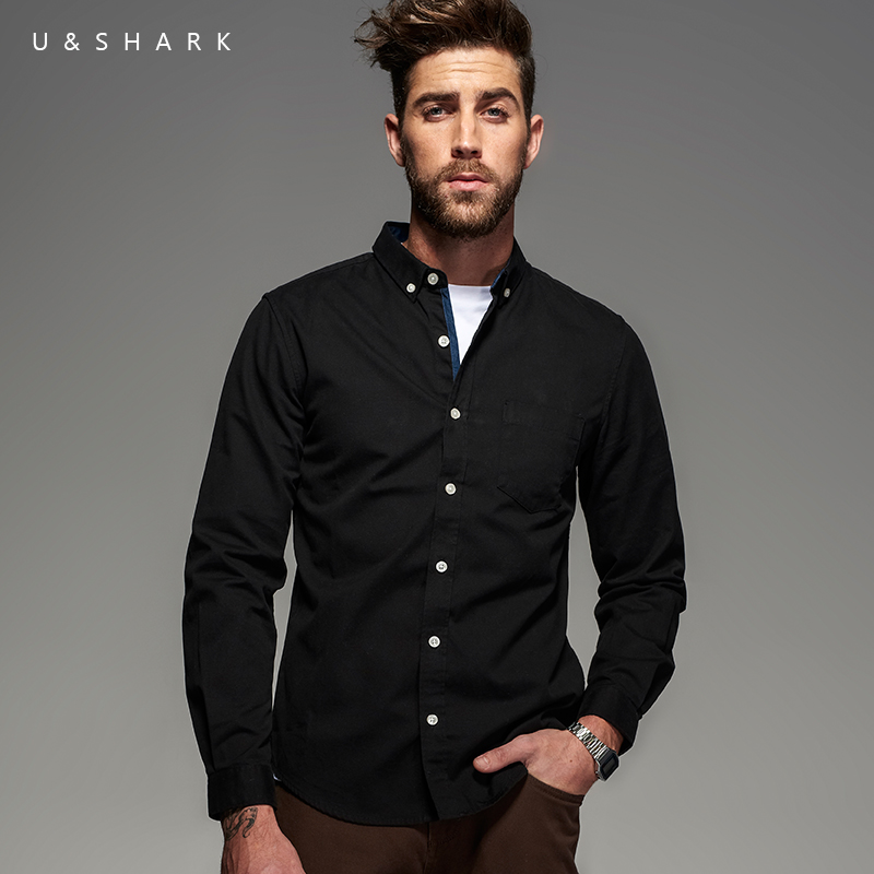 U shark vintage patchwork oxford shirt men blouse brand for Top dress shirt brands