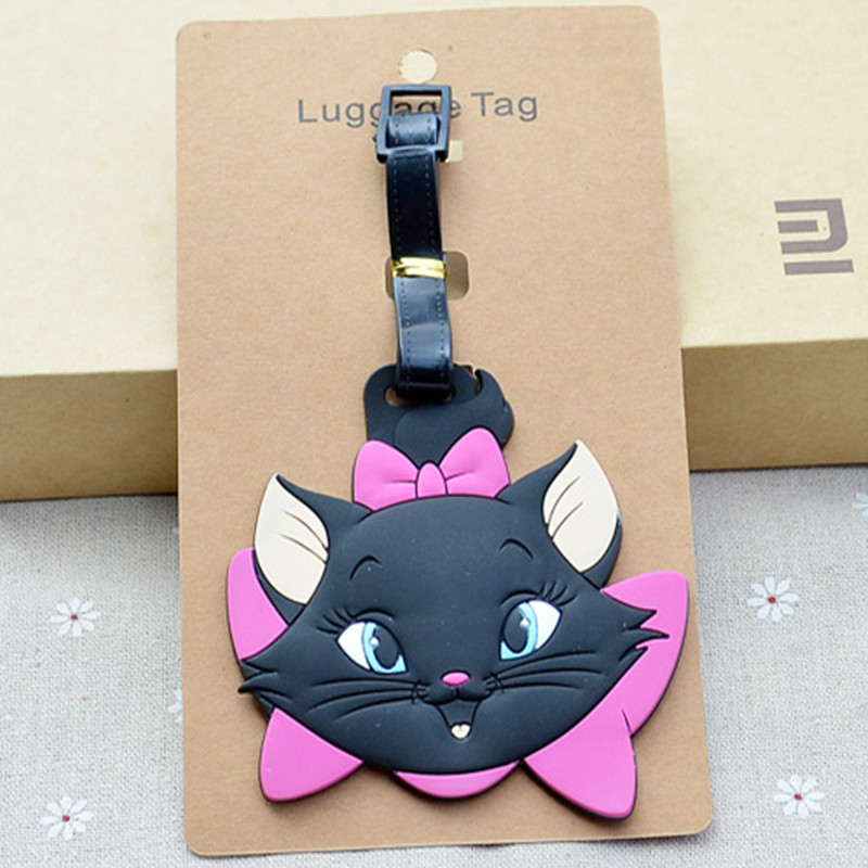 New Cartoon Cute Marie Cat PVC Baggage Tags Portable Suitcase Name Address ID Handbag Label Travel Accessories Luggage Tag