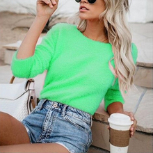 2019 Candy Color Autumn Winter Knitted Sweater Long Sleeve O-neck Women Tops Plush Sweaters Green Pink Pullovers Plus Size 3XL