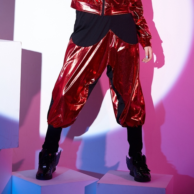 38e127abcfcf1 2016 Nova moda casual Moletom Trajes femininos desgaste vermelho paillette  patchwork jazz soltas Harem Hip Hop