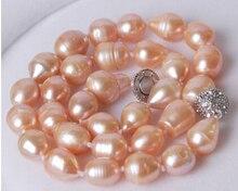 Eternal wedding Women Gift word 925 Sterling silver real natural big DYY+++817 Big Genuine Rice Pink akoya AAA+