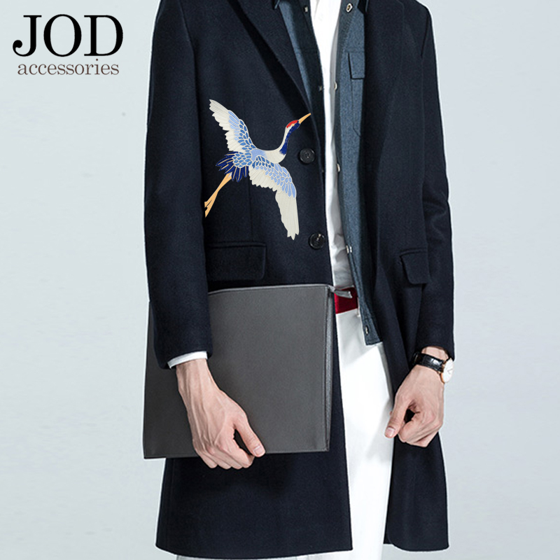 JOD New Cranes Patches Jacket Embroidery Retro Fashion Large Bird Decoration Stickers Clothes Applique Sewing Applications DIY in Patches from Home Garden
