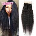 7A brasileño de la virgen yaki grueso pelo con el pelo del bebé del pelo humano encierro del pelo brasileño virginal media libre 3 parte lace Closure