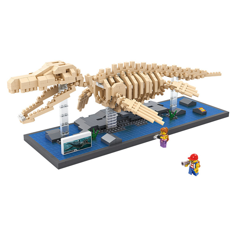 LOZ creator mini diamond building block plastic Jurassic dinosaur fossils Mosasaurs skeleton model DIY nanoblock educational toy loz dc comics super heroes mini diamond building block batman