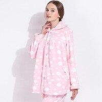 Winter Warm Flannel Maternity Breastfeeding Nursing Nightgown Pregnant Women Sleepwear Fashions Pajamas 2 pcs/set H324