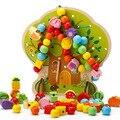 Игрушки Для Детей Мультфильм Деревянный Блок Бусы Строка Вместе Интересная Игрушка, Чтобы Улучшить Когнитивные Способности Детей