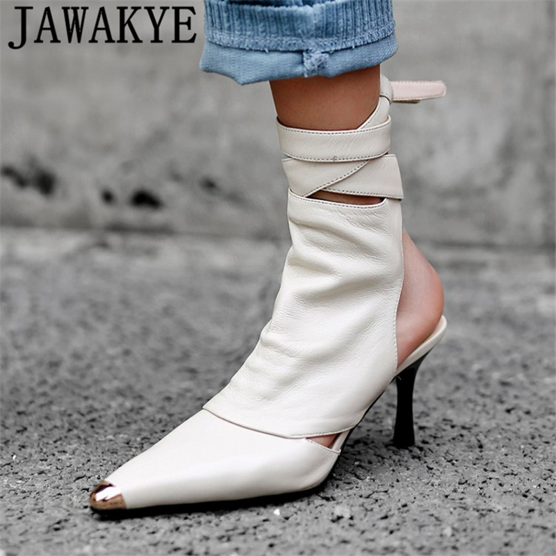 Sexy metal pointed toe stilletos pumps Women genuine leather high back strap shoes cut out slingback