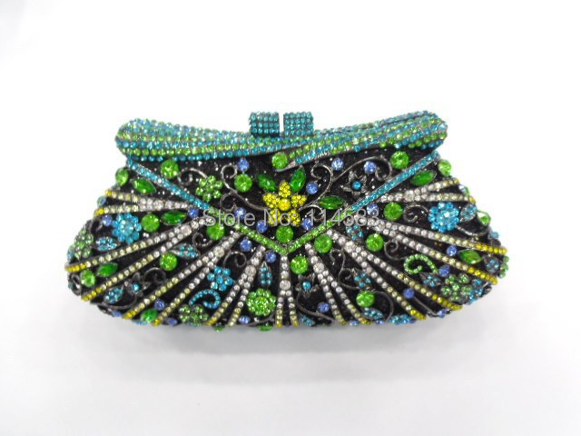 8248C multi color Crystal Flower Floral Bridal Party hollow Metal Evening purse clutch bag font b