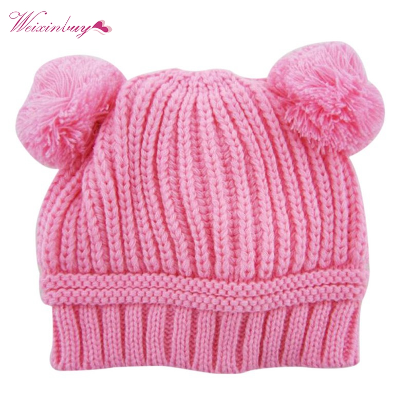 0-3Y Baby Dual Ball Knitted Caps Boys Girls Toddler Crochet Beanie Hairball Ear Newborn Hat Cute Children Cap Hot Sale QF