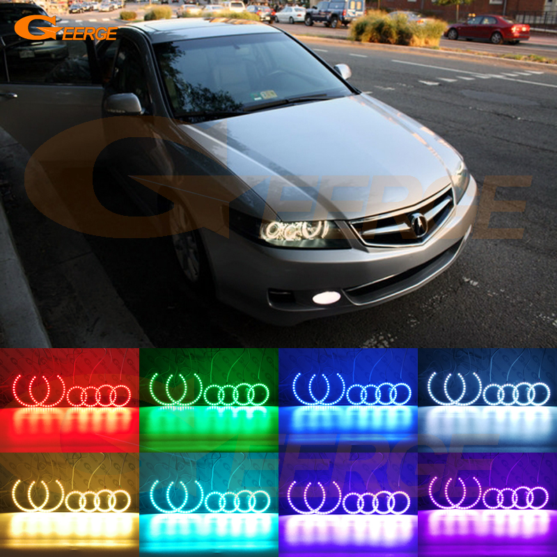 For ACURA TSX CL9 2004 2005 2006 2007 2008 Excellent Multi-Color Ultra bright RGB LED Angel Eyes kit Halo Rings 53713 sdc a02 53713sdca02 power steering pressure hose for accord 2003 2007 for acura 2004 2008 for tsx 2 4l